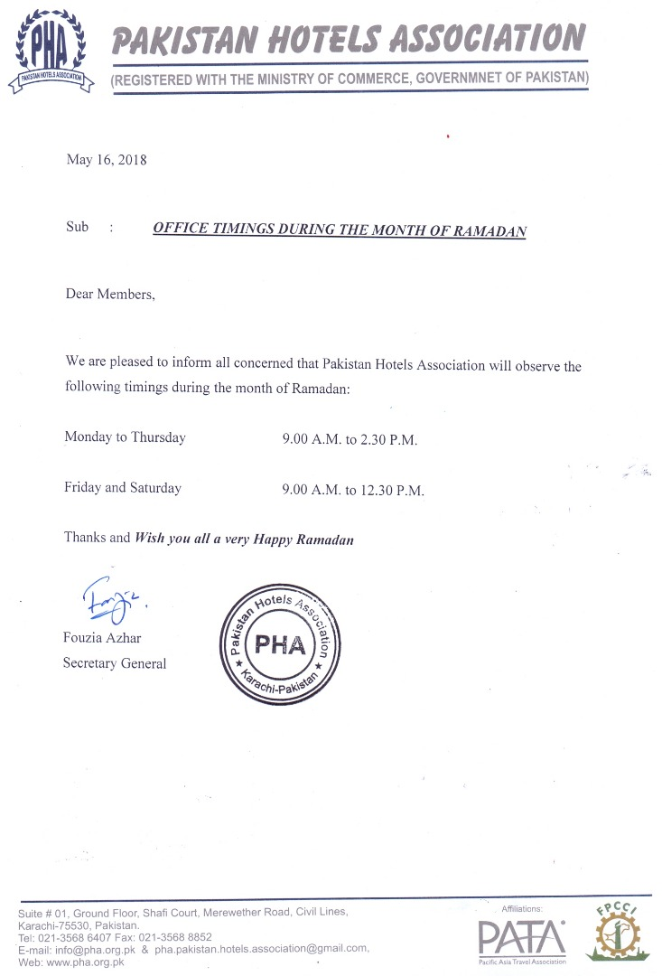 PHA Secretariat Office Timings in Ramazan 2018